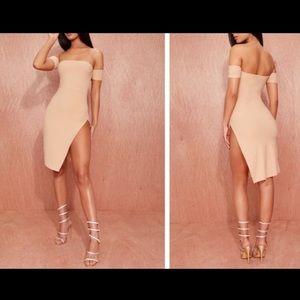 Nude Cuff Detail Split Side Midi Dress NWT.